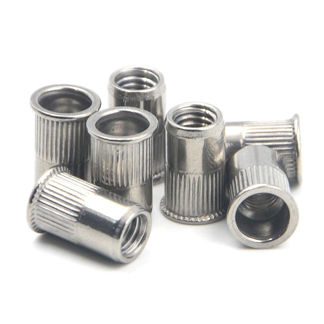 Angelakerry 50pcs M10 304 Stainless Steel Normal Head Rivet Rivnut Insert Nutsert Nut Threaded Multi