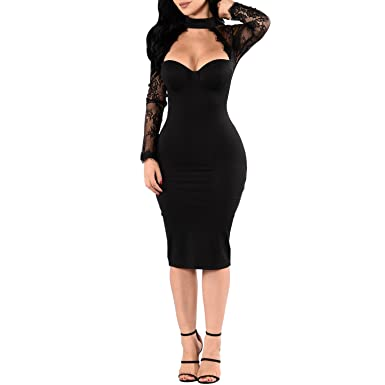Synen Womens Floral Lace Mesh Long Sleeves Choker Neck Bodycon Party Cocktail Dress