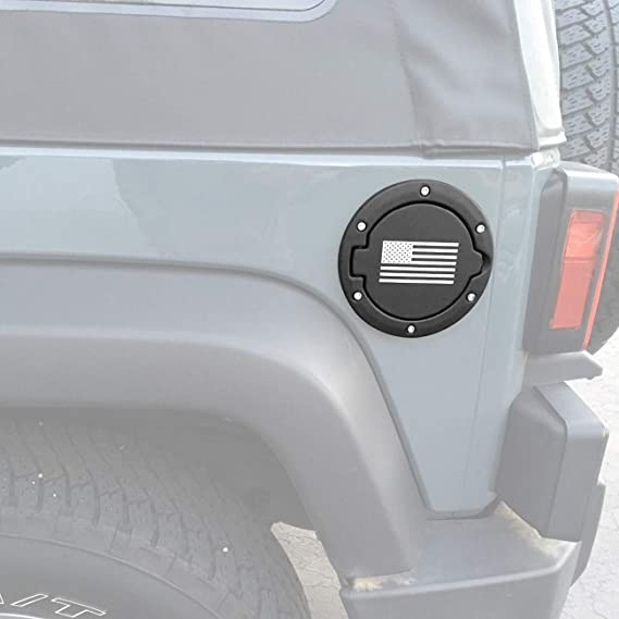 DIYTUNINGS USA Flag Style Gas Fuel Tank Cap Cover for Jeep Wrangler JK JKU Unlimited Rubicon Sahara X Off Road Sport 2007-2017
