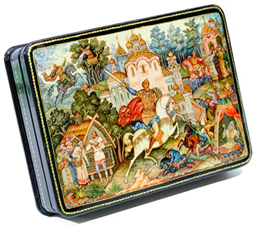 Russian Painted Lacquer Hand (craftsfromrussia Russian Lacquer Miniature - Russian Fairytales Vityaz - Medium Size - Hand Painted in Russia (Medium, Style C))