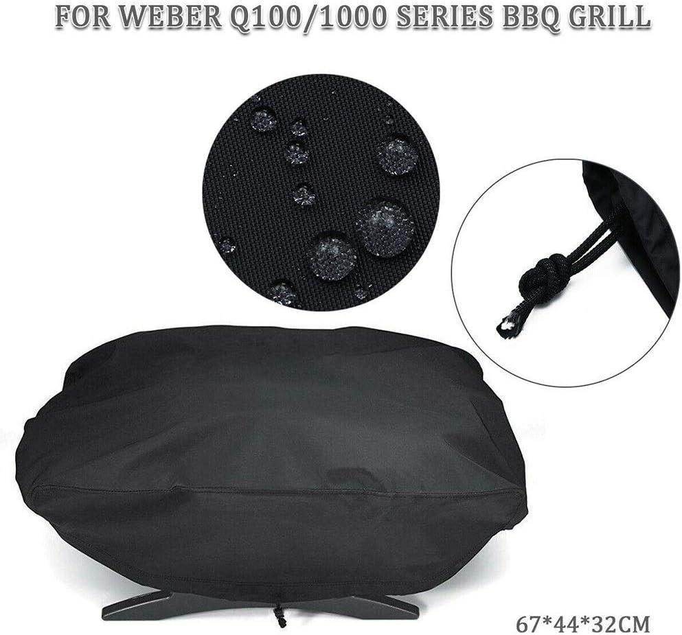 QWERTY Grillabdeckung BBQ Cover Color : Black, Size : 67.1 * 44 * 32cm Schwarz Wasserdicht Schutzh/ülle F/ür Weber 7110 Q1000 Series Ofenhaube