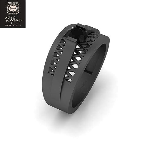 Amazoncom Classic Mesh Wedding Ring Band 047ct Black Diamond Mens