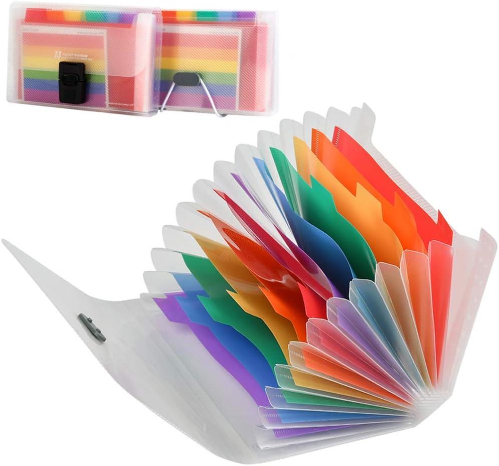4 pezzi YOTINO Cartella A6 per fisarmonica 13 scomparti Organizzatore di documenti in plastica Colori arcobaleno Cartella documenti per arcobaleno portatile Cartella per lordinamento