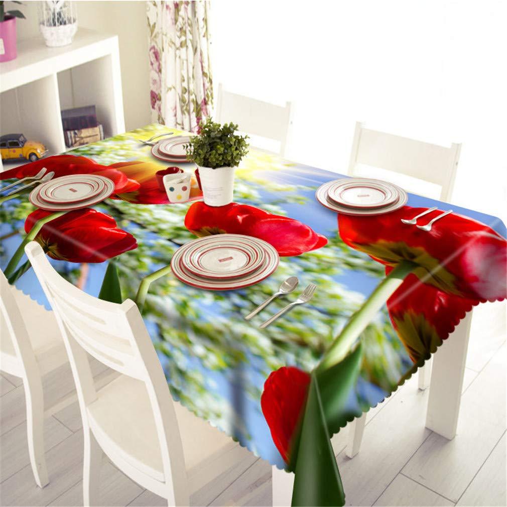 Couleur 3 140cm X 180cm Nappes 3D Rouge Roses Motif Imperméable à l'eau à l'huile épaissir Polyester Rectangulaire De Table De Mariage en Tissu à La Maison Textiles Couleur 5 180cm X 270cm