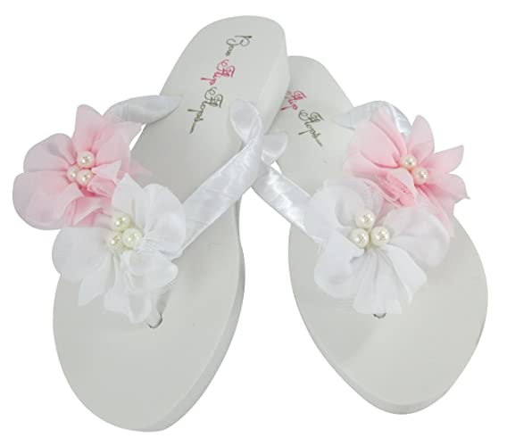 1ccb5049ca6284 Amazon.com  Custom White Low Wedge Flip Flops Pearl Flowers