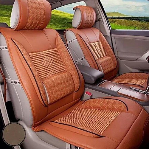 MIAO Car Seat Cushions Cover, Five Seats Car Universal Seasons 3D Ice Silk Leather Car Seats Cover , orange: Sports & Outdoors