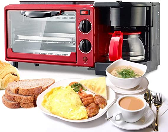 HYX Eléctrico 3-en-1 Tamaño de la Familia desayuno estación, Cafetera, Tostador, plancha, freír multifunción