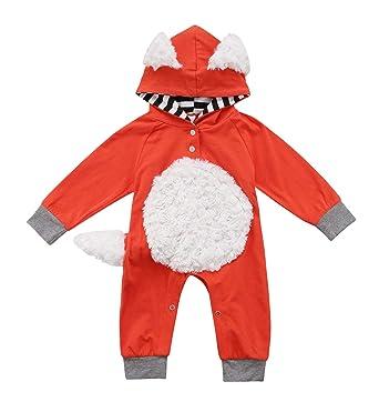 c71d747e61d3 Amazon.com  Infant Fox Halloween Romper Toddler One Piece Long ...