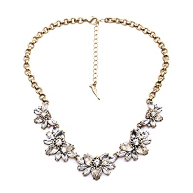 fitwit rhinestone crystal statement choker exaggerated flower fashion costume necklace wedding jewelry women