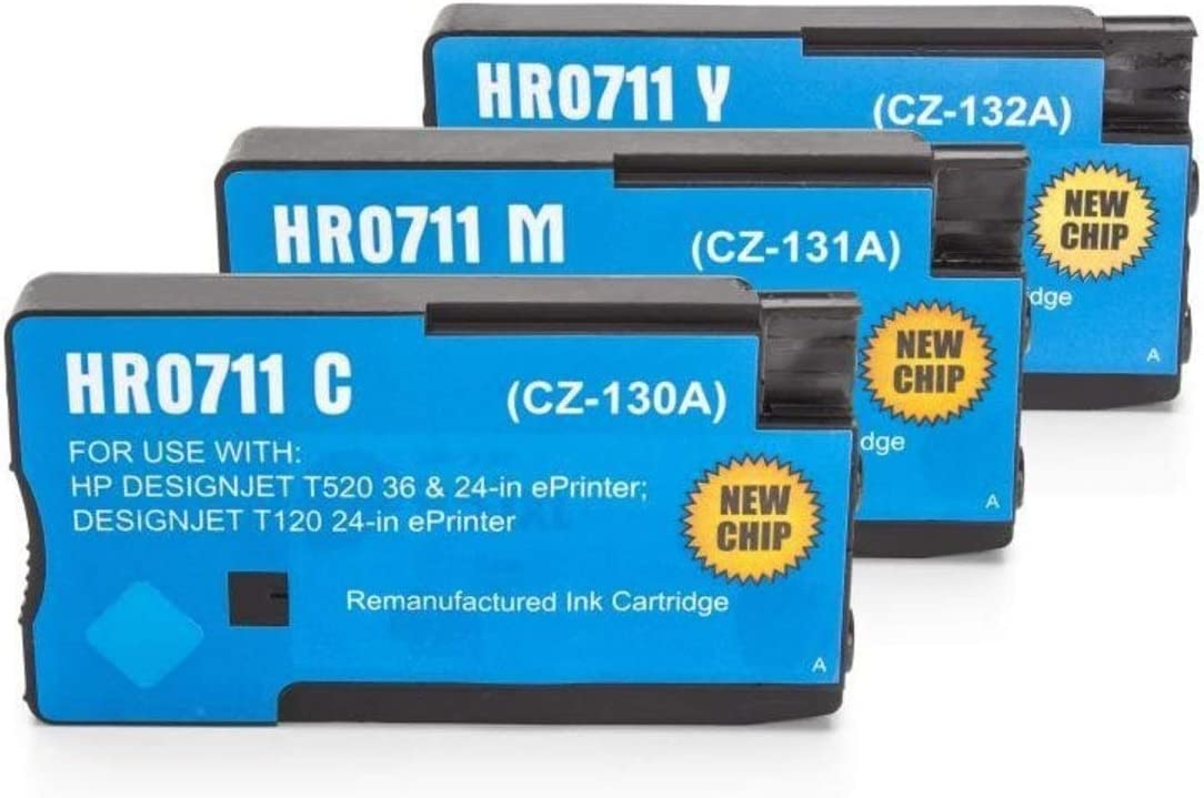 Cmn Print Pool compatible – como repuesto para HP – Hewlett Packard Designjet T 120 (711/CZ130 A – CZ132 A) – 3 x Cartucho de tinta Multipack (cian, magenta, amarillo) (C, M,