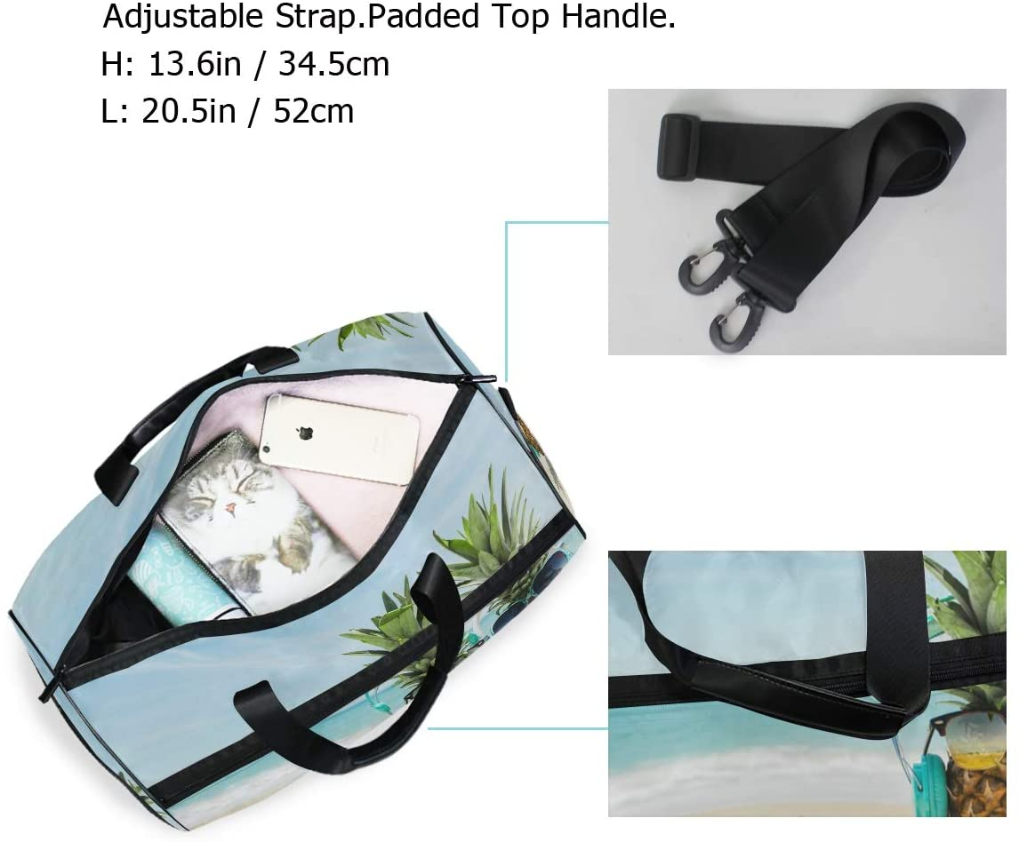 Beach Background With Cool Pineapples Wearing Headphones Glasses Sports Gym Bag with Shoes Compartment Travel Duffel Bag for Men Women