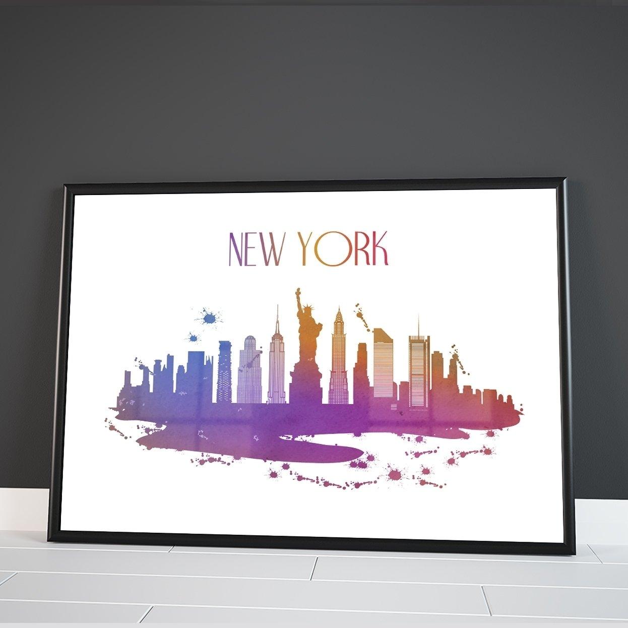 New York skyline di città del mondo Watercolour Colourful Wall Dã Cor poster stampa artistica Inspired Walls®
