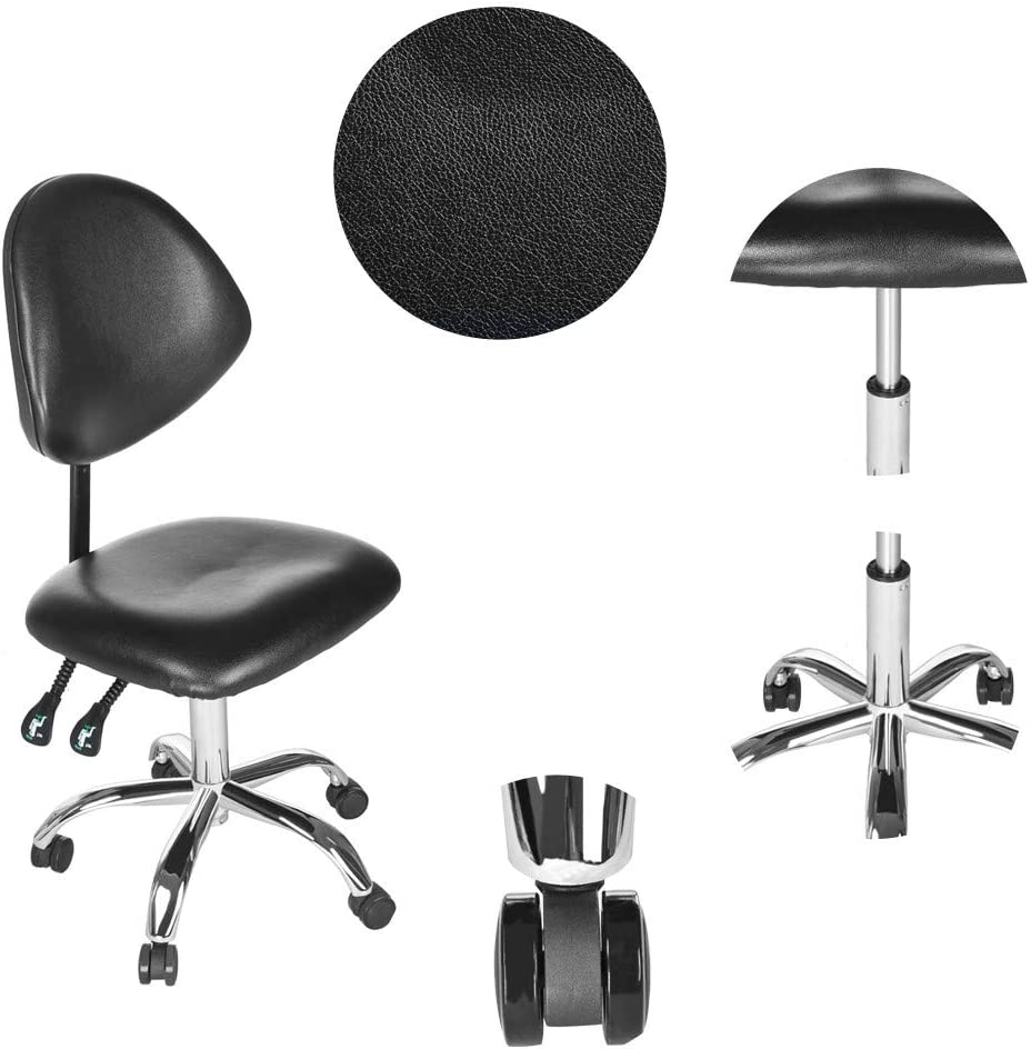 Adjustable Drafting Stool Lift Chair | Hydraulic Office Arbeit Backrest Rolling Swivel Chair für Beauty Salon mit Pu Leather zurück Rest | 15.8&Times;15.8&Times;17.7-23.6Inch -?- Shipped aus Usa (Black)