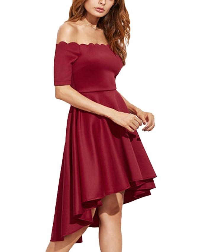 44619117f Auxo Faldas Plisadas Elegante Mujer Traje de Gala sin Hombro Midi ...