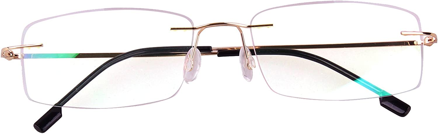 Agstum Titanium Alloy Flexible Rimless Hinged Frame Prescription Eyeglasses Rx