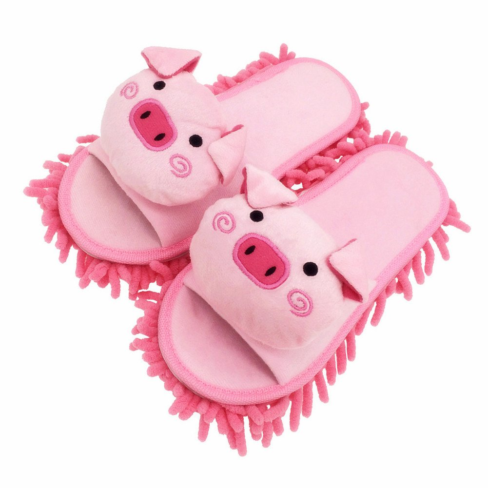 Selric Cute Piggy Mircofiber Dusting Slippers Open Toe Slippers Pink, Chenille Cleaning Mop Slippers Floor Mop Shoes Detachable Cleaning Tool 9 7/9'' [Size:5.5-8.5]