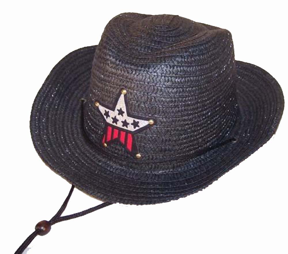12 Bulk Lot Assorted Colors Kids Straw Western Cowboy / Cowgirl Hat with Americian Flag Star Emblem Patch -Childrens Size by Novelties company (Image #3)