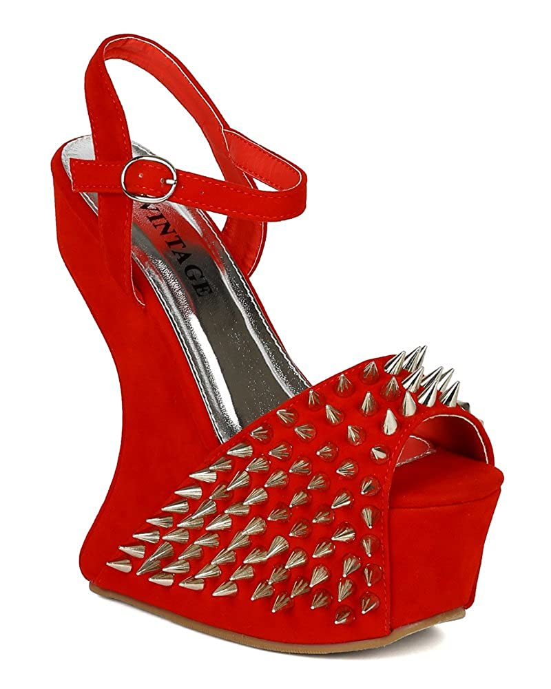 Red heels wedge with spikes rare photo
