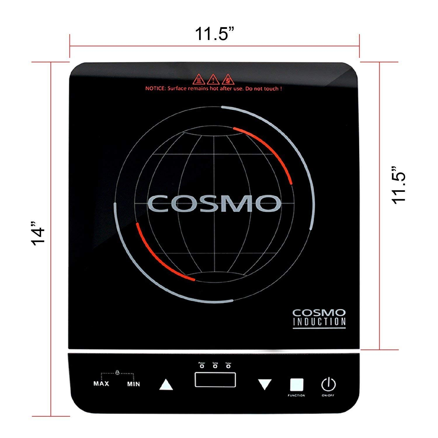 Safety Lock Sensor LED Display COS-YLIC1 Energy Efficient Countertop Stove Single Burner Cosmo Portable Electric Induction Cooktop with Rapid Heating 1800-Watt