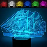 Sailboat 3D Optical Vision Lamps, YKL World Amazing 7 Changing Colors Acrylic Touch Button Table Desk Night Light with 5 feet USB Line Home Decor