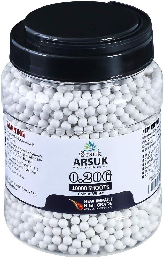 ARSUK Balines de Airsoft, Munición Bolas de Paintball 6mm, 0.20g de Alto Grado Precision de plástico Cantidades; 2000, 4000, 5000, 10,000 Balines