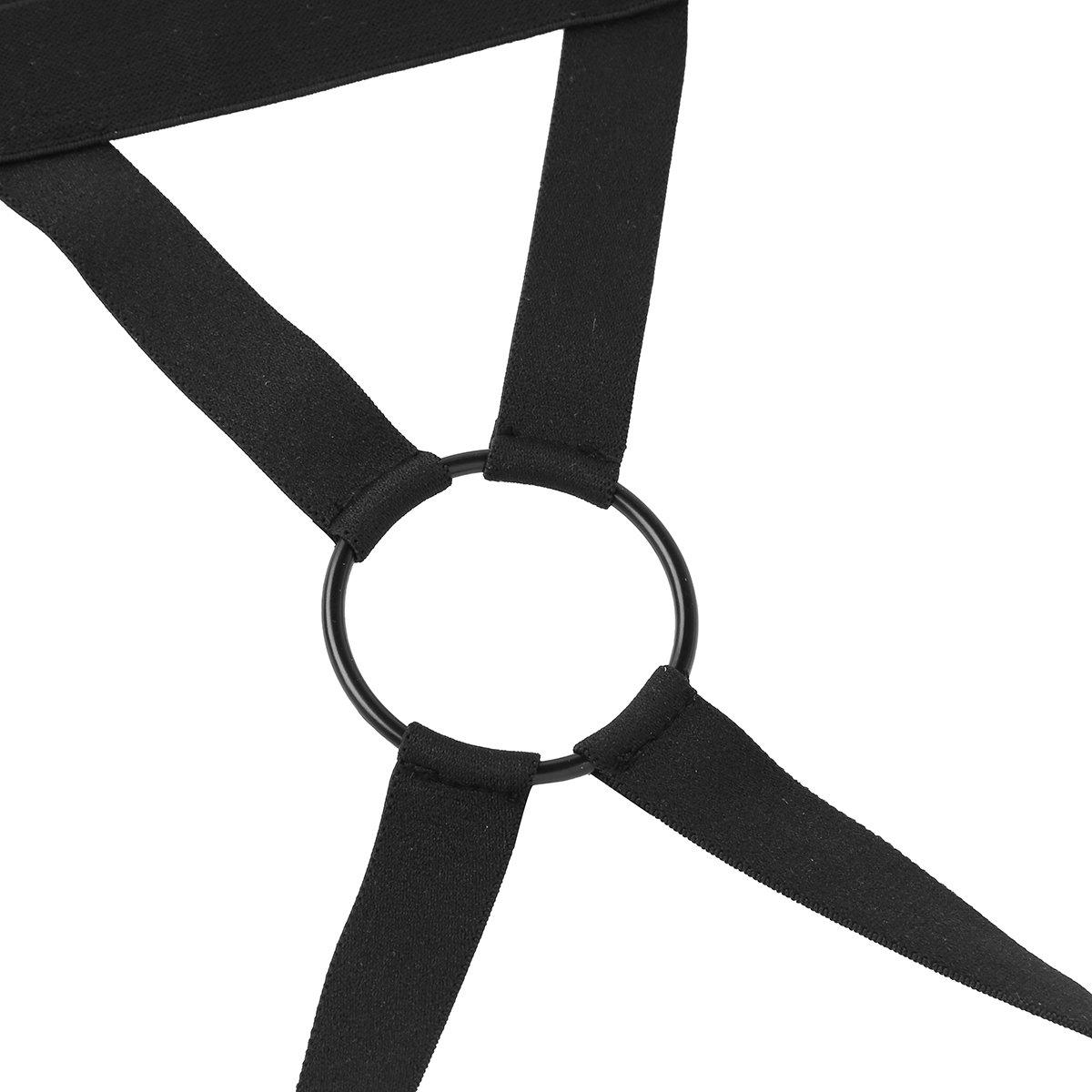 ACSUSS Men's Stretch Nylon Underwear Metal O-Ring Jockstrap Lingerie T-Back Thongs Black Medium(Waist 31.5-51.0''/80-130cm) by ACSUSS (Image #5)