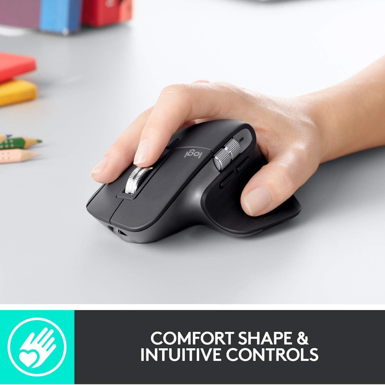 Mouse Inalámbrico Logitech MX Master 3 con mango reposador para pulgar en negro