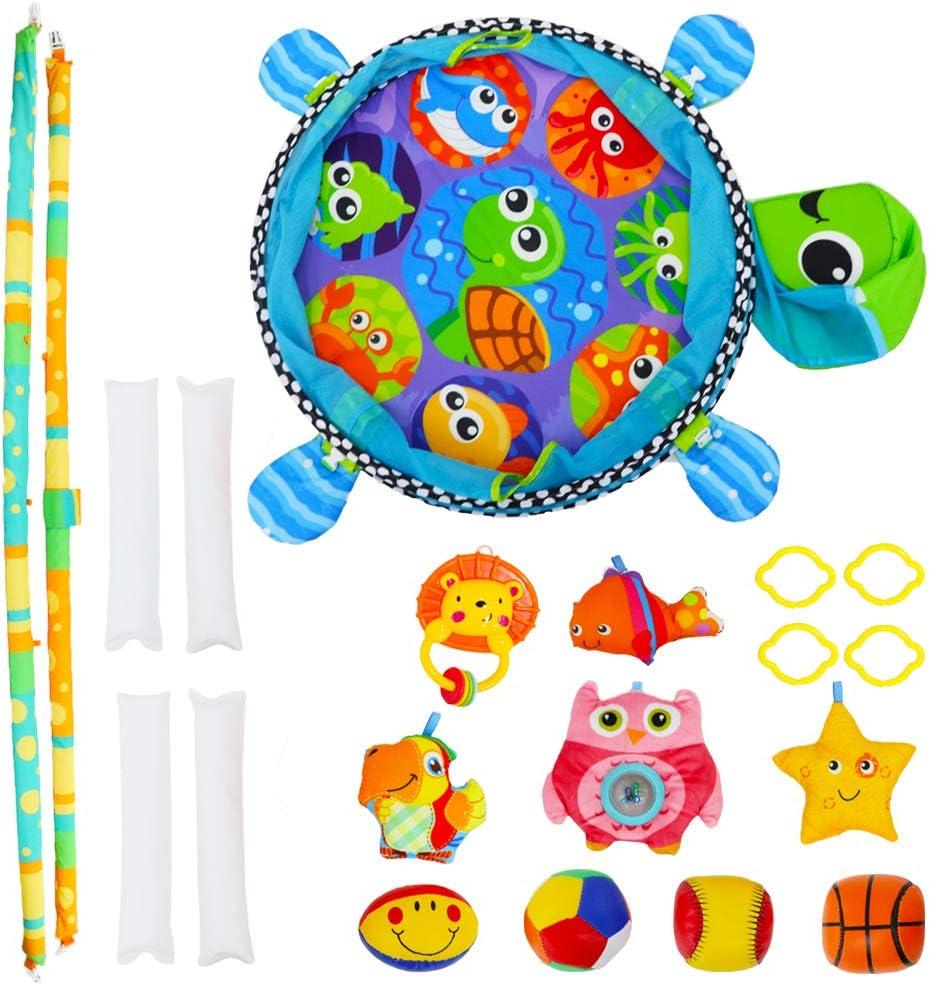 Schildkr/öte Handy und 4 Softplay-B/ällen Rasseln deAO Aktivit/ätscenter f/ür Baby- und Kleinkind Laufstall mit Stauraum