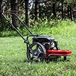 "Earthquake 28463 m205 trimmer with 150cc 4-cycle viper engine walk behind string mower, red/black 8 powerful - powered by a strong, yet quiet, 150cc 4-cycle viper engine. The earthquake m205 walk behind string mower chops down your unsightly weeds and stubborn brush with ease. The large 14-inch wheels allow you to float through thick grass, weeds, brush, nettles, and other foliage too difficult for push mowers to overcome. Durable - our one-piece steel deck provides strength and stability while reducing vibration. Super tough nylon line has a cutting swath of 22"" to get the job done quickly. Never kill engine: unlike many competitive units, our engine will continue to run when the cutting head is disengaged so you can safely and easily remove sticks, branches or other obstacles without having to re-start the engine, saving time and frustration."