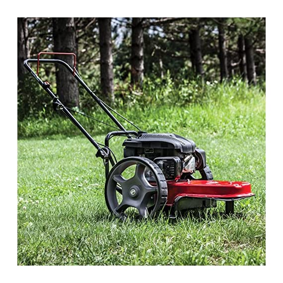 "Earthquake 28463 m205 trimmer with 150cc 4-cycle viper engine walk behind string mower, red/black 4 powerful - powered by a strong, yet quiet, 150cc 4-cycle viper engine. The earthquake m205 walk behind string mower chops down your unsightly weeds and stubborn brush with ease. The large 14-inch wheels allow you to float through thick grass, weeds, brush, nettles, and other foliage too difficult for push mowers to overcome. Durable - our one-piece steel deck provides strength and stability while reducing vibration. Super tough nylon line has a cutting swath of 22"" to get the job done quickly. Never kill engine: unlike many competitive units, our engine will continue to run when the cutting head is disengaged so you can safely and easily remove sticks, branches or other obstacles without having to re-start the engine, saving time and frustration."