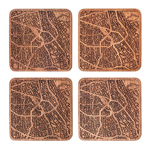 San Jose, CA Map Coaster by O3 Design Studio, Set Of 4, Sapele Wooden Coaster With City Map, (Mat San Jose)