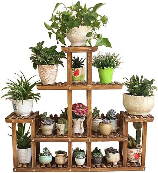 ZHAS Soporte de Flor de Madera de 5 Capas, Flores y Plantas suculentas Hierbas Macetas Estante de exhibición de Piso Jardín Interior y Exterior Balcón Salón Estantes Decorativos, jardín de 98x25x: Amazon.es: