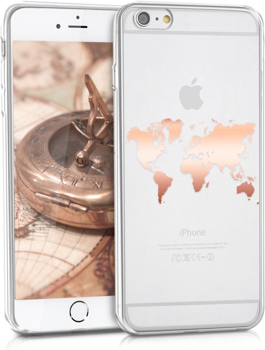 kwmobile Cover Compatibile con Apple iPhone 6 Plus / 6S Plus - Back Case Custodia Posteriore in Silicone TPU per Smartphone - Backcover Contorni Oro ...