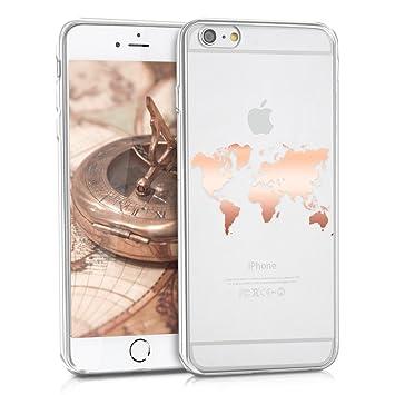 kwmobile Funda compatible con Apple iPhone 6 Plus / 6S Plus - Carcasa de TPU con diseño de mapa del mundo en oro rosa / transparente