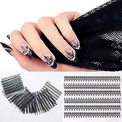 iDealhere 30sheets Mezcla Encaje 3D Flor Uñas Etiqueta de Arte Etiqueta Decoración (Negro)