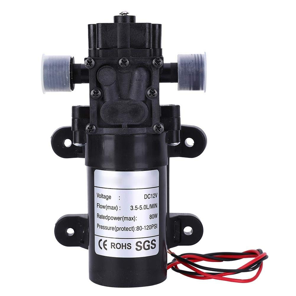 Diaphragm Pump DC12V FL3210H-80W Mini Self-Priming Backflow Diaphragm with 1//2in Right Water Outlet High Pressure and Low Noise