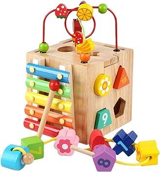 Jouet Forme /à Trier pour Enfant TOP BRIGHT Jouet Cube Dactivit/é en Bois Cadeau Educatif pour Gar/çon et Fille de 1 an et 2 Ans