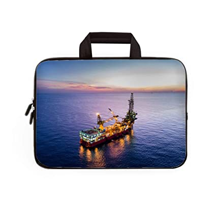 Amazon com: Double Zipper Laptop Bag,Aerial View of Tender Drilling