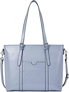 BOSTANTEN Women Leather Laptop Tote Office Shoulder Handbag Vintage Briefcase 15.6 inch Computer Work Purse Light Blue