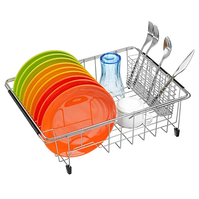 ARCCI Expandable Dish Drying Rack Organizer, Over Sink Dish Drainer with Adjustable Arm, Utensil Rack Rustproof Stainless Steel