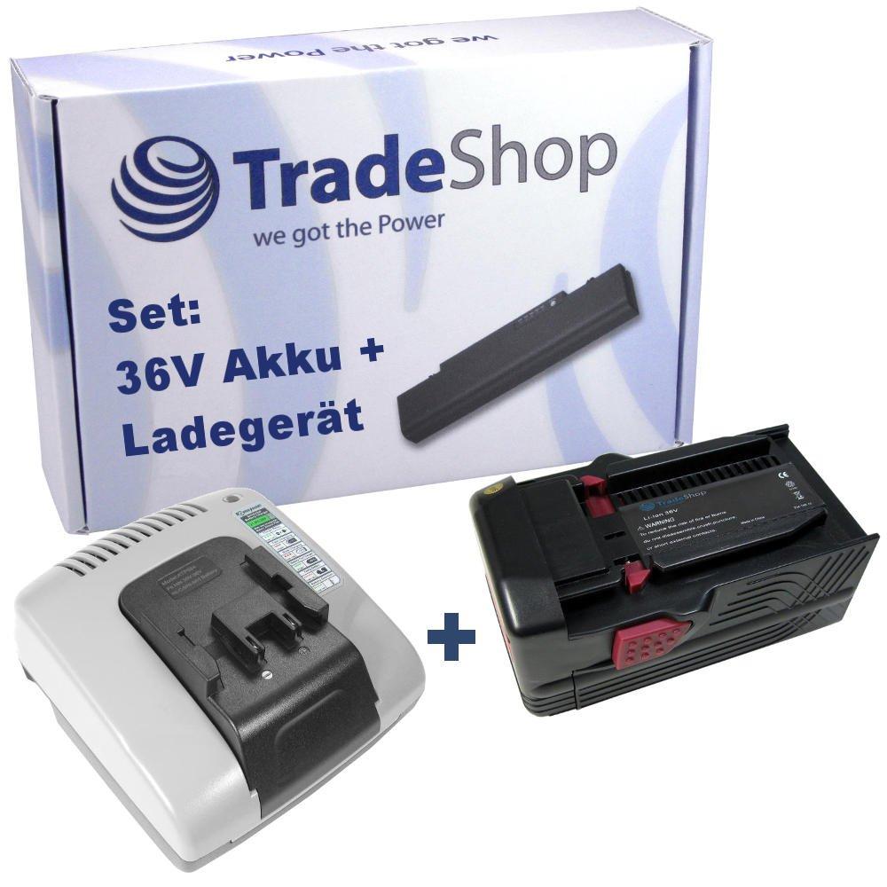 2in1 Angebot im Set: Akku Schnellladegerät mit 2x USB Anschluss + Hochleistungs Li-Ion 36V 4000mAh Akku für Hilti B36 B36V TE6A TE7A