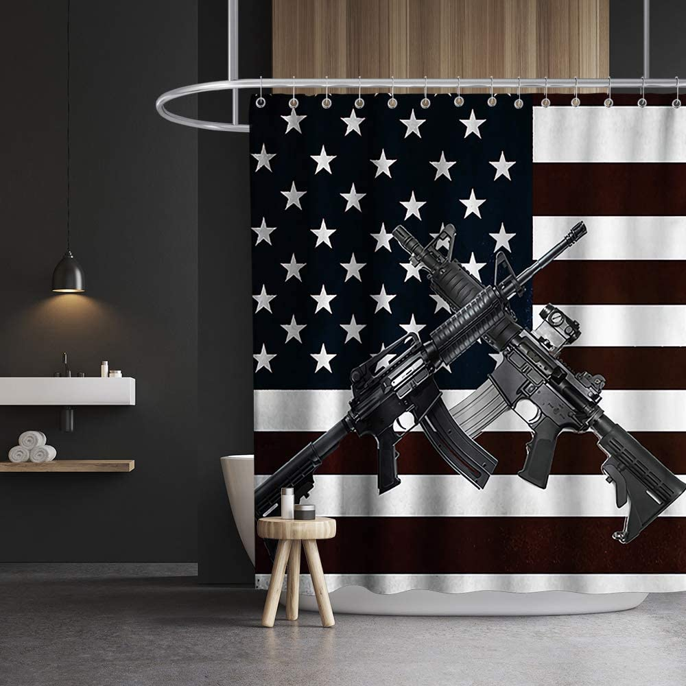 Amazon Com Lifeasy Usa American Flag And Gun Patriotic Theme Fabric Shower Curtain Sets Boy Bathroom Decor With Hooks Waterproof Washable 70 X 70 Inches Black And White Marroon Home Kitchen
