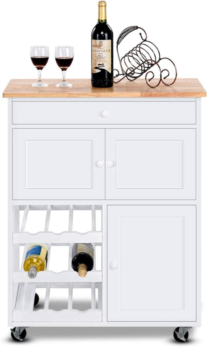 Scaffale da Cucina con Ruote COSTWAY Carrello da Cucina Carrello di Servizio in Legno Tavola Acciaio Legno con Cassetto e Armadietto