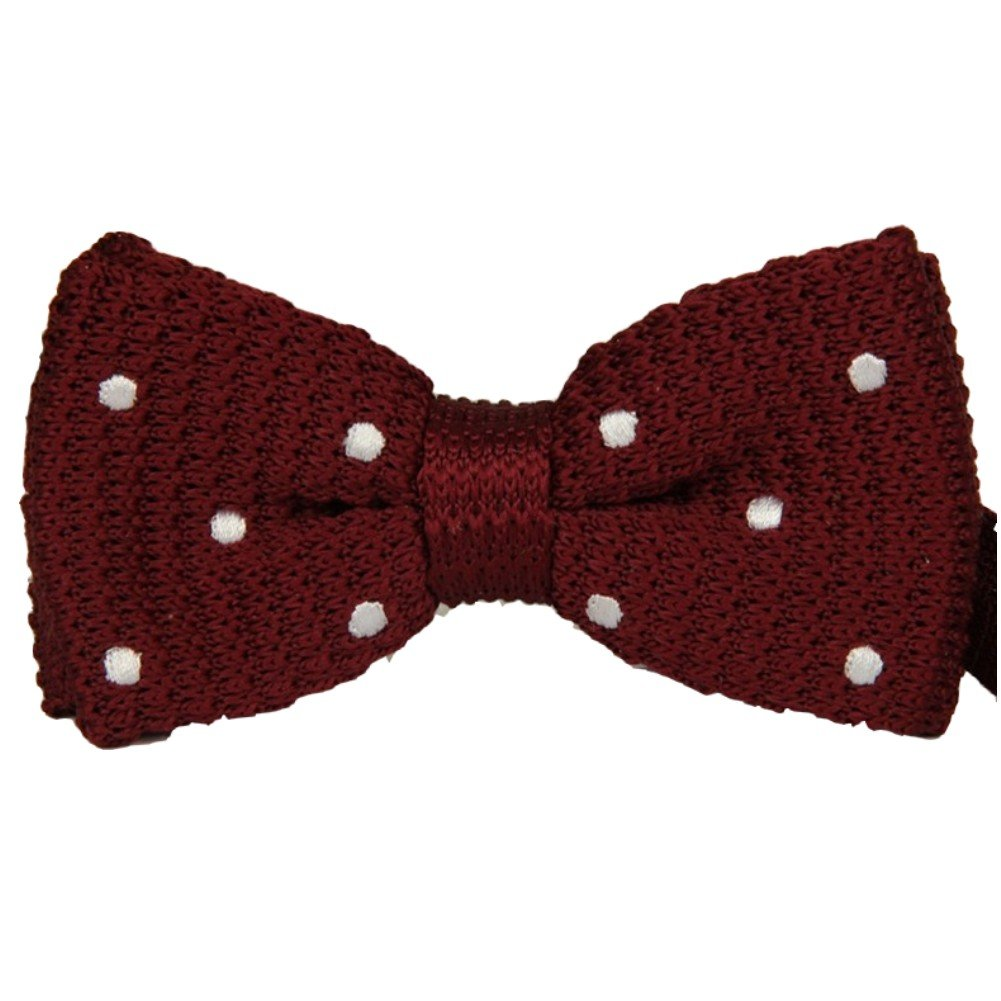 Mens Double Layer Bowtie Bow Tie Knit Knitted Maroon Little White Polka Dots