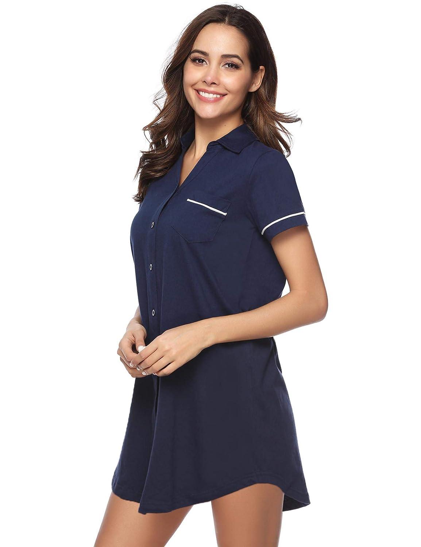 Hawiton Camisón Mujer Verano Pijamas de Manga Corta Vestido de Dormir Camisa de Noche con Cuello en V para Mujer Camisónes: Amazon.es: Ropa y accesorios