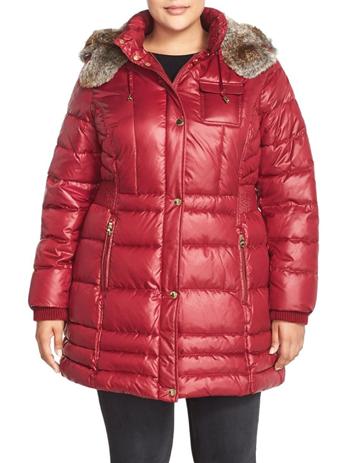 Laundry By Design Faux Fur Trim Hooded Quilted Coat (Plus Size ...