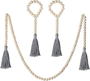 Mokof 3 Pack Wood Bead Garland with Cotton Tassel, Rustic Wooden Bead Decor, Farmhouse Home Wall Hanging Decoration