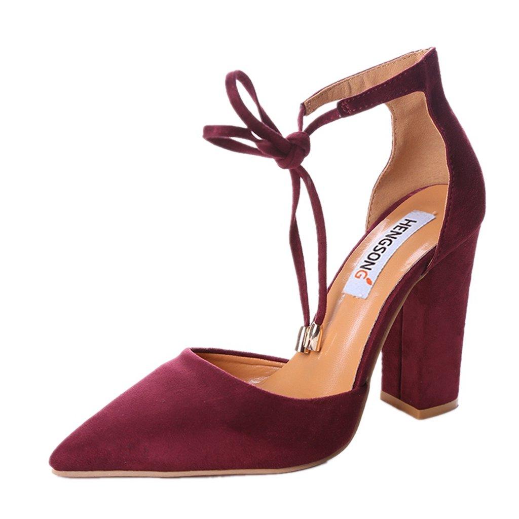 Hengsong Femme Rouge Eté Sandales à Talons Peu Peu Profondes Profondes Bouche Suède Sandales Nœud Cheville Épais Talons Hauts Chaussures Rouge 55d1078 - gis9ma7le.space