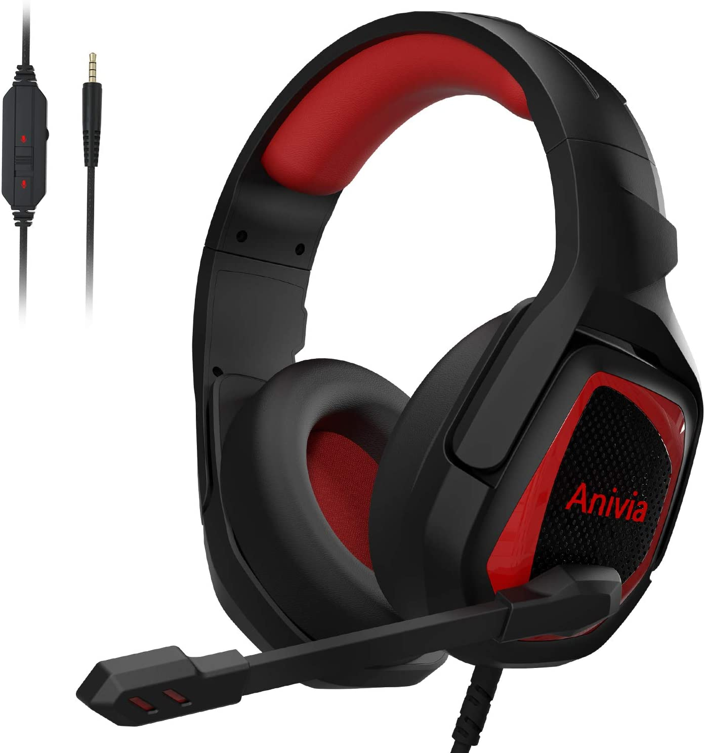 Anivia PS4 Gaming Headset for Xbox One PC Over Ear Headphones with Noise Cancelling Mic Stereo Bass Surround Headset Compatible with Laptop Mac Nintendo Switch MH602 Red