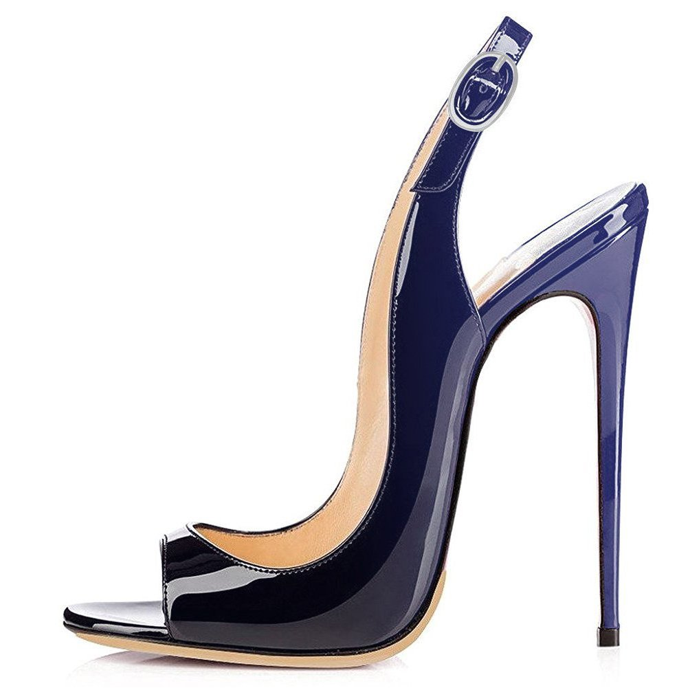 Black to bluee UMEXI Open Toe Slingbacks Ankle Strap High Heels Stiletto Pumps Wedding Party shoes for Women